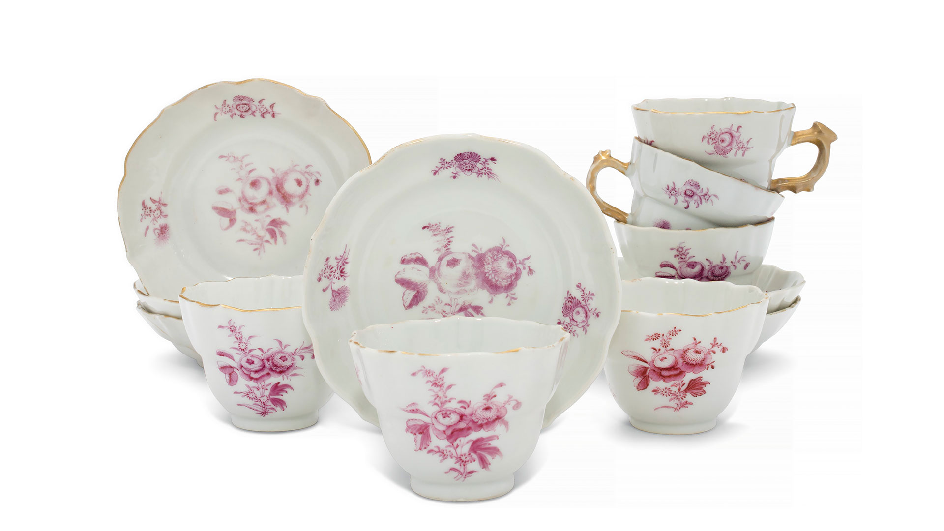 Six continental porcelain cups and saucers, circa 19th century