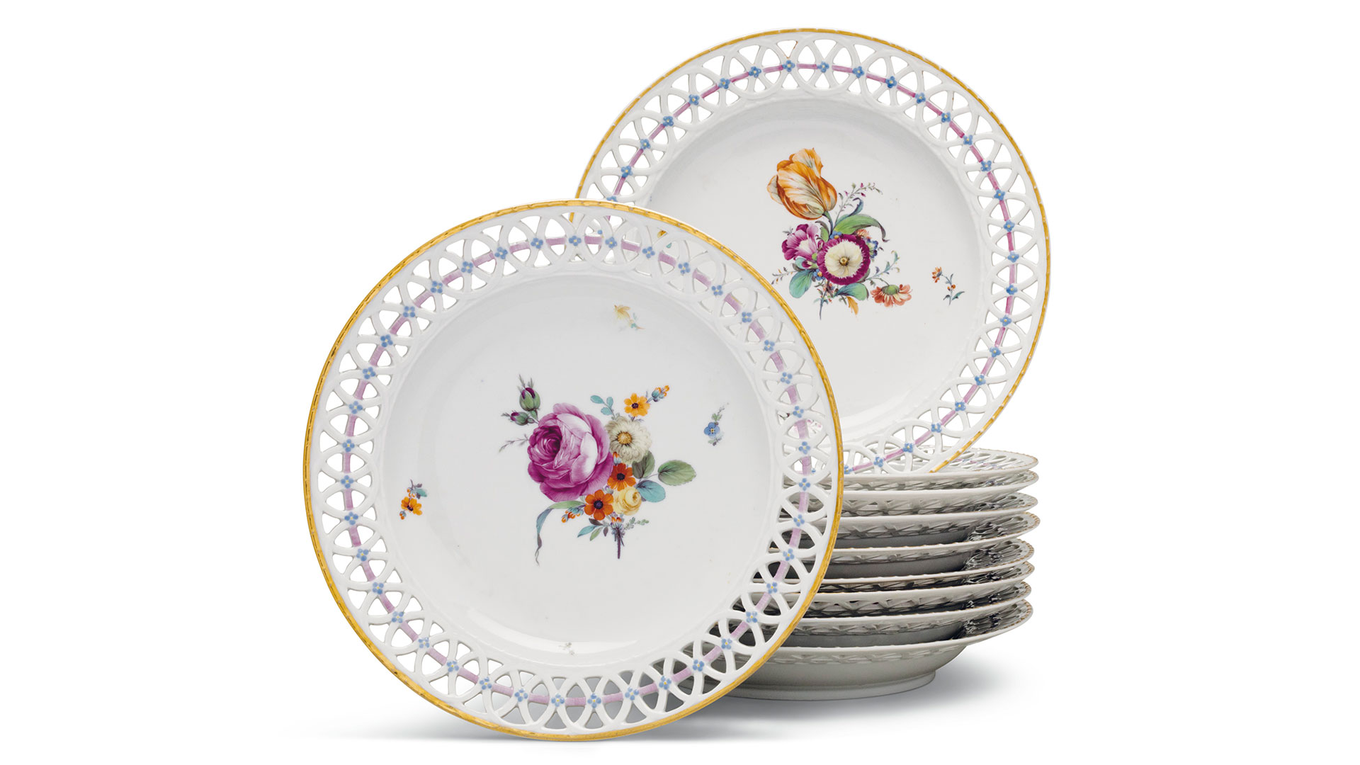 Southern Living Rockefeller Christies Auction Pierced Furstenberg Dessert Plates