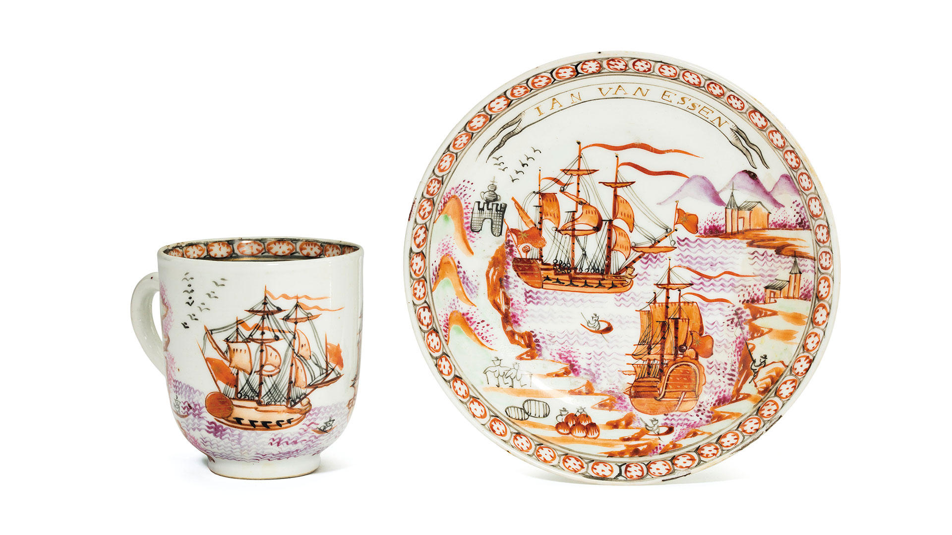 Chinese shipping-themed cup and saucer, circa 1770.