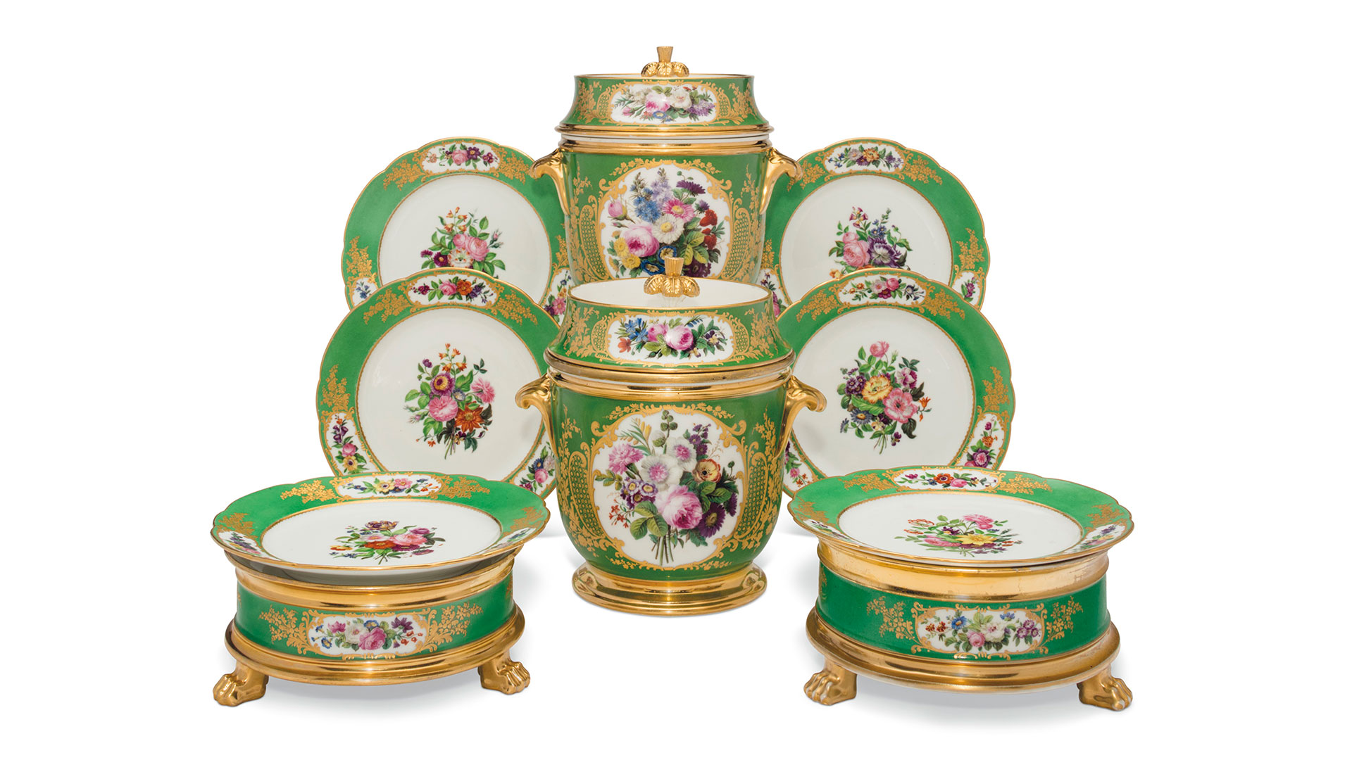 Paris green ground porcelain dessert service, circa 1820