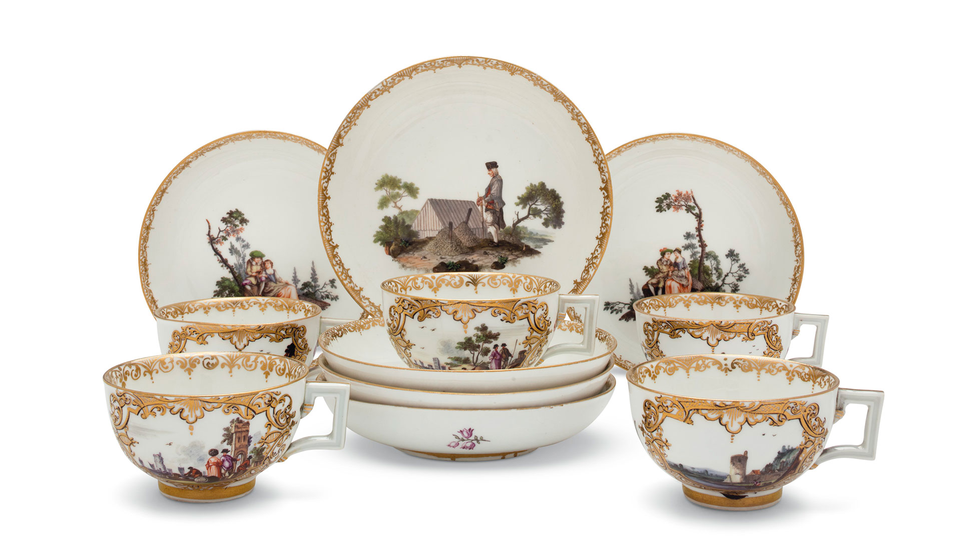 Five Meissen porcelain cups and five saucers, circa 1770.