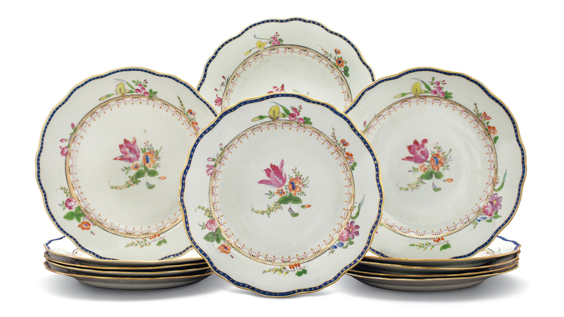 11 Chinese Famille-rose side plates, circa 1770.