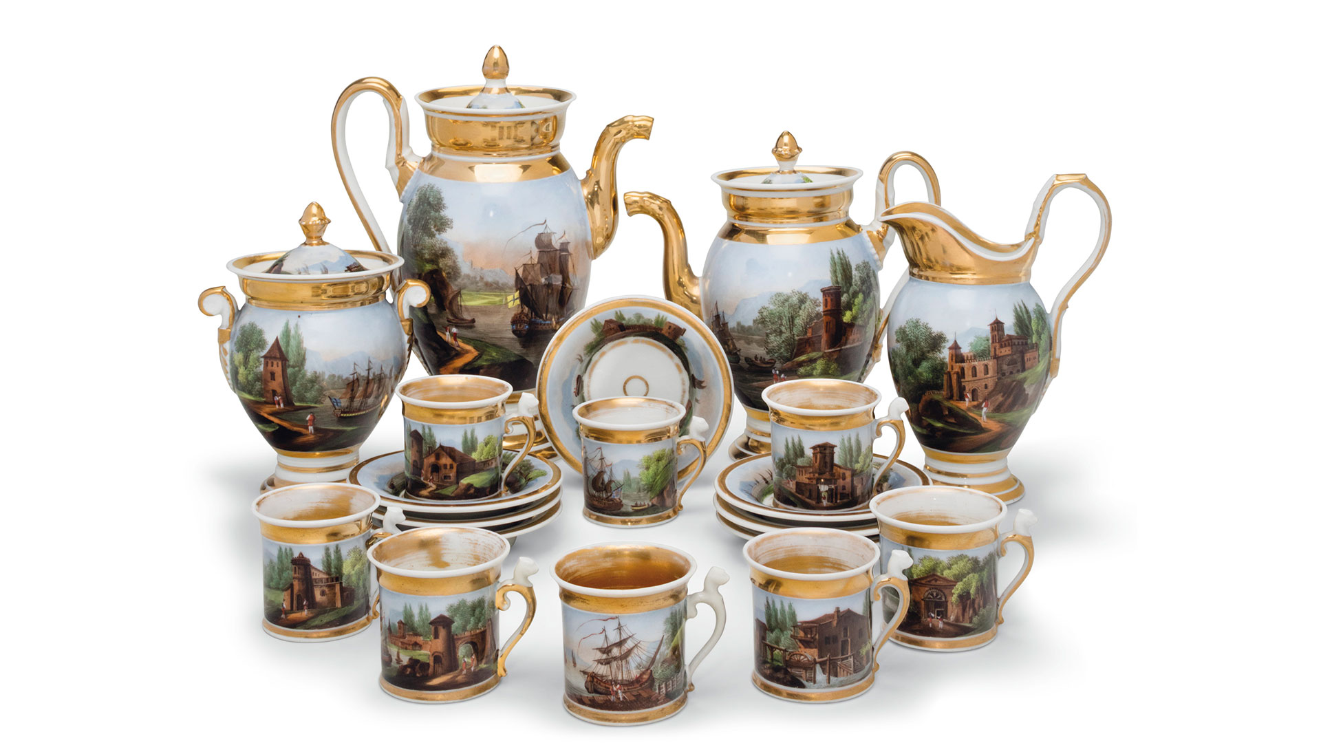 Southern Living Rockefeller Christies Auction Paris Gold-Ground Coffee Service
