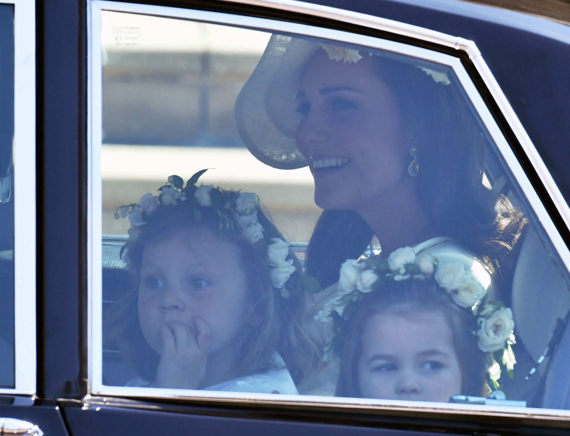 Kate Middleton In Car Arriving At Royal Wedding