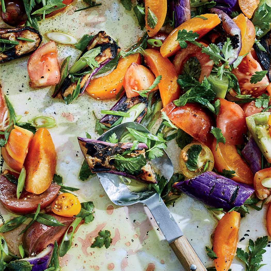 Grilled Eggplant, Apricot and Tomato Salad