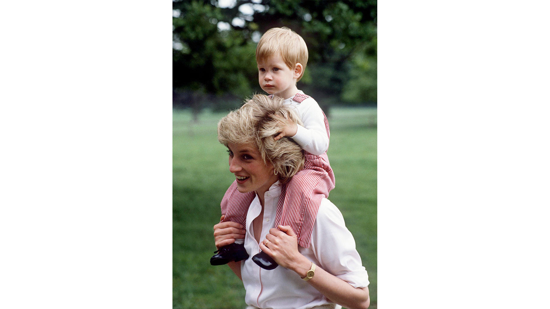 Harry on Diana's Shoulders