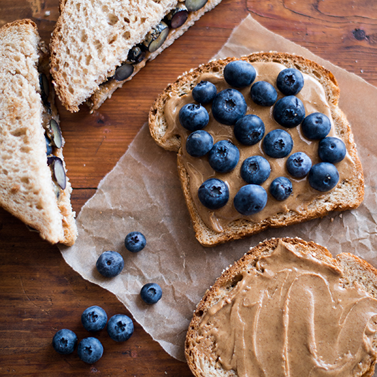 Almond Butter and Fresh Blueberry Sandwich