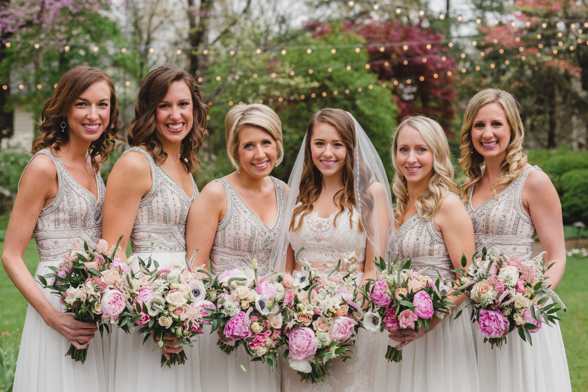 Bridesmaids in Beaded White Gowns