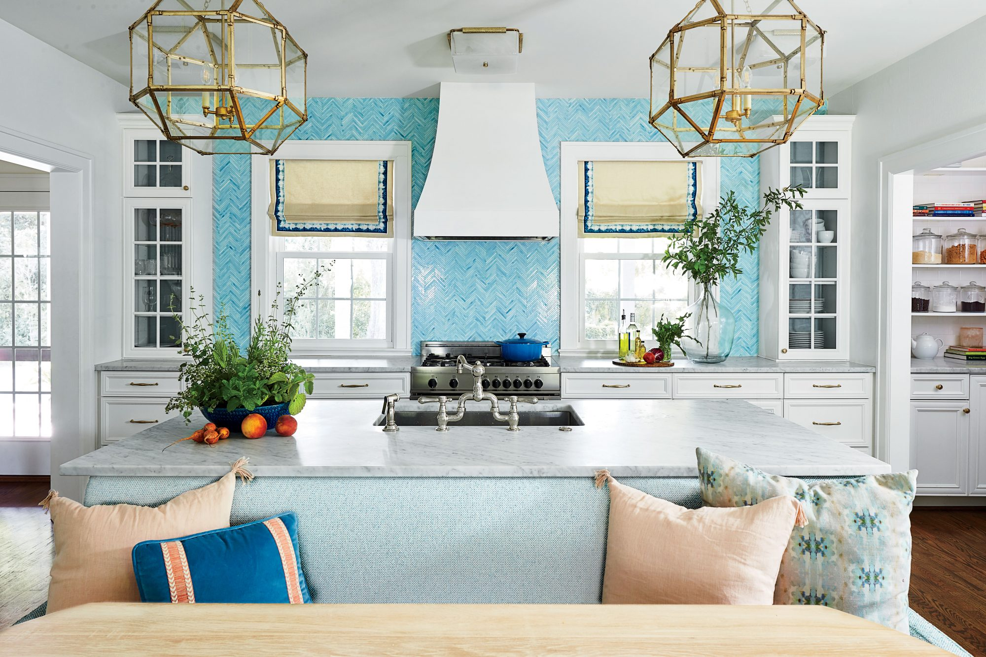 Lindsey Cheek Wilmington, NC Home White Kitchen with Teal Tile and Banquet Seating