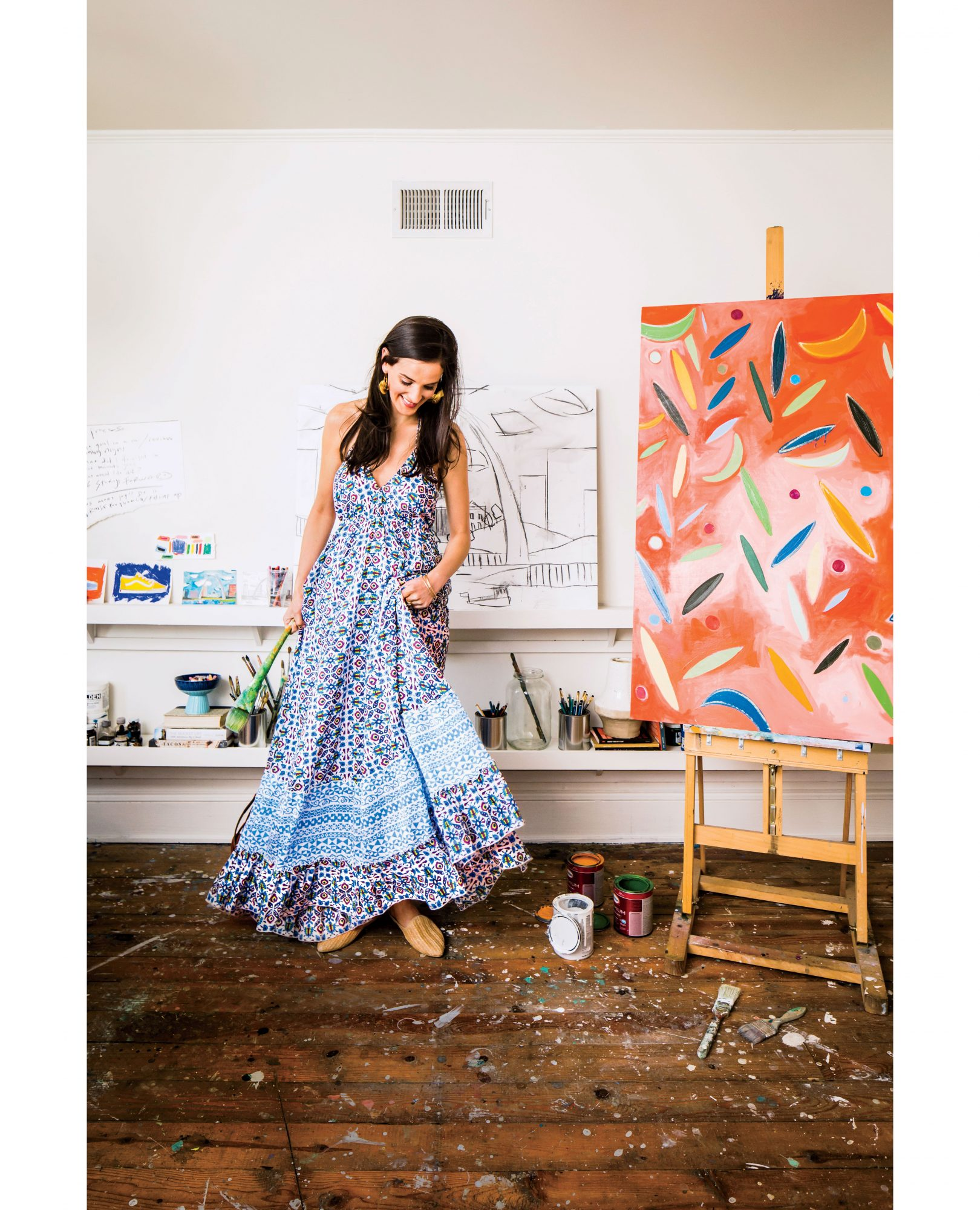 Dorothy Shain In Her Studio Wearing Roller Rabbit Dress