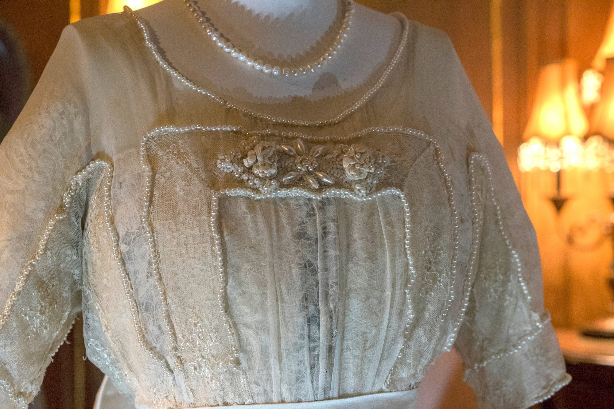 Lady Duff Gordon ivory Dress Details at Titanic Pigeon Forge