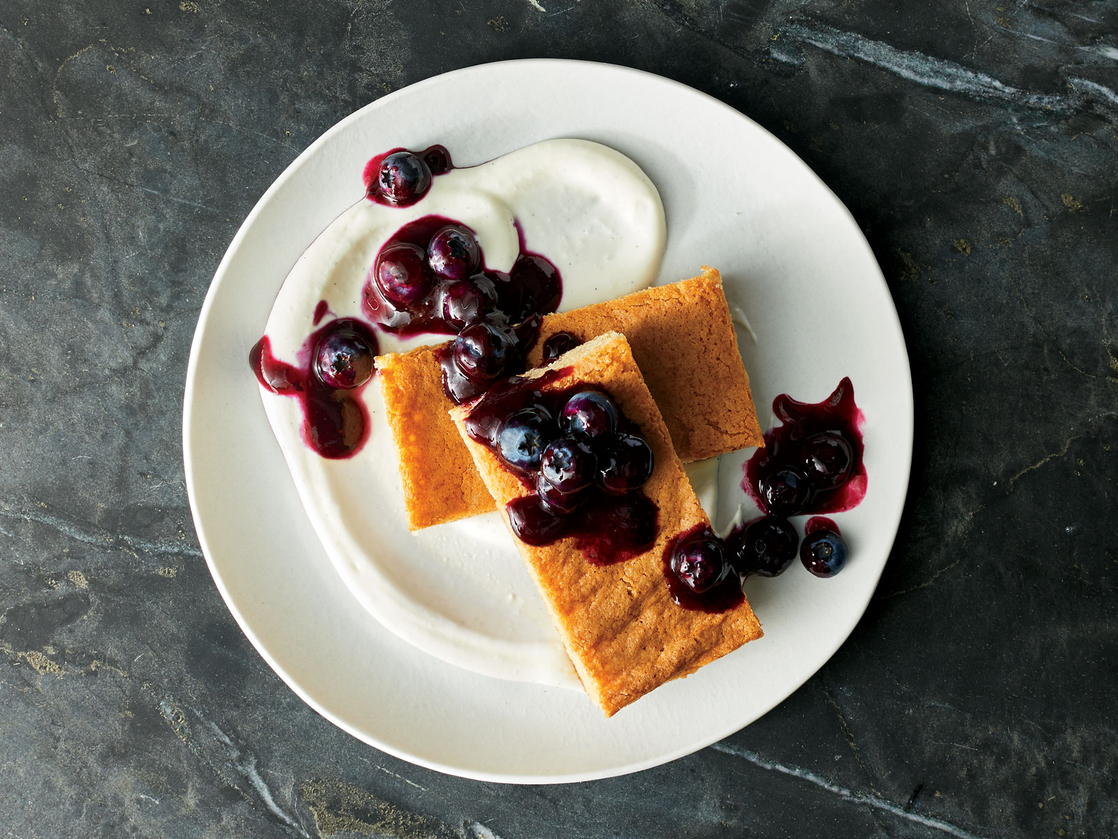 Brown Sugar Cake with Ricotta and Blueberries