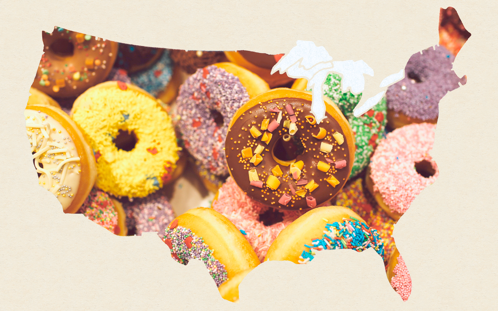 Map of United States with Donuts