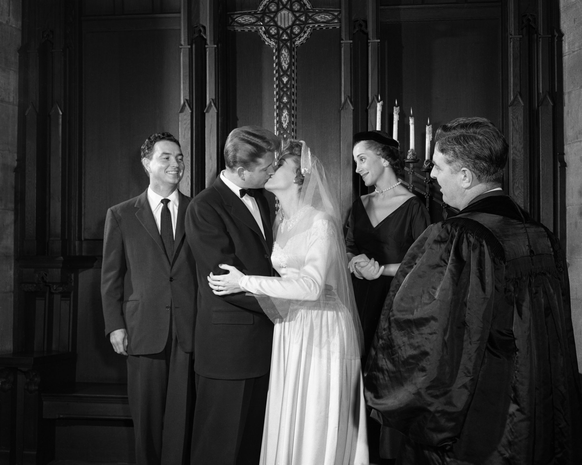 Bride and Groom Kissing 1950s