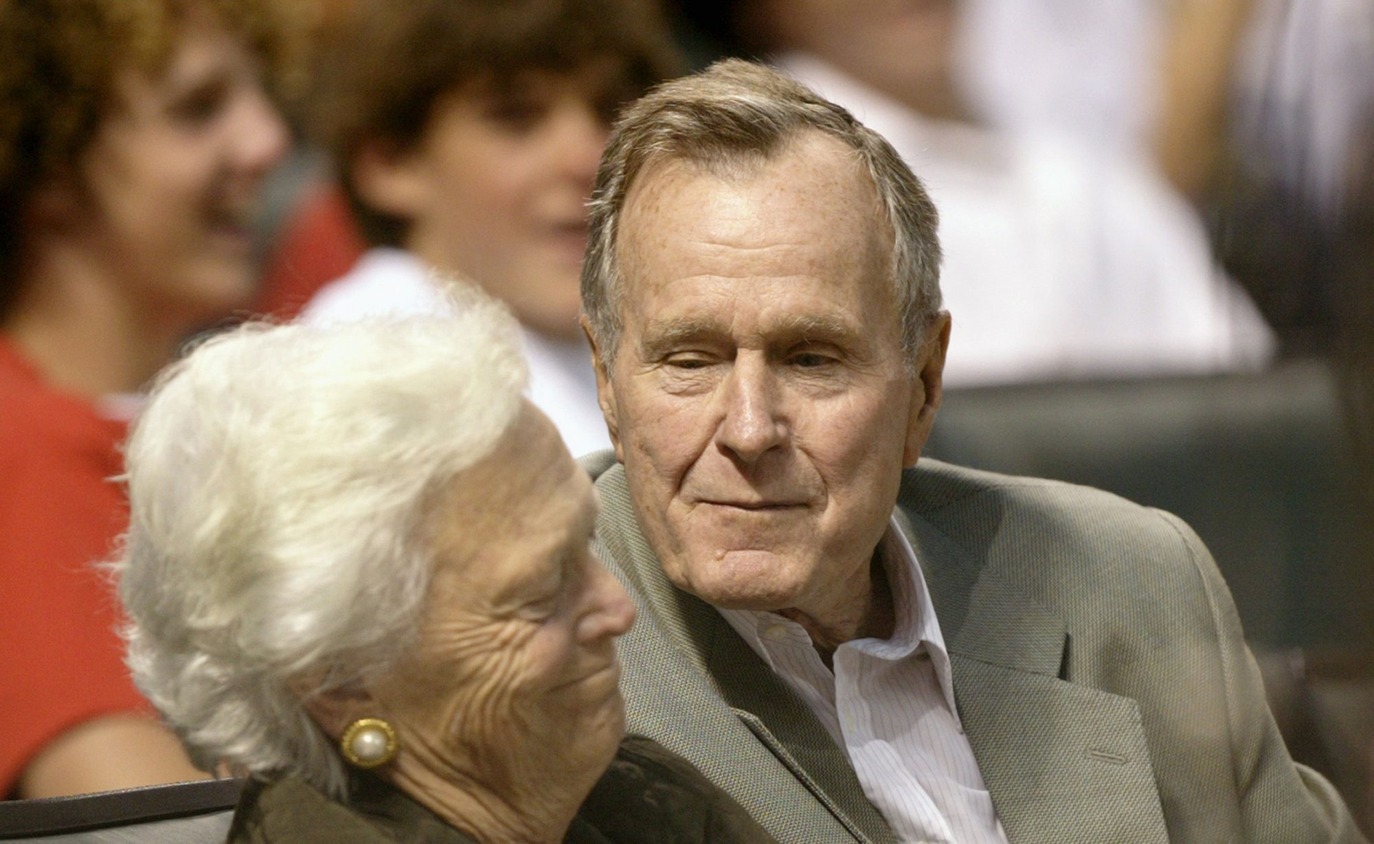George HW Bush and Barbara Bush at Astros Game