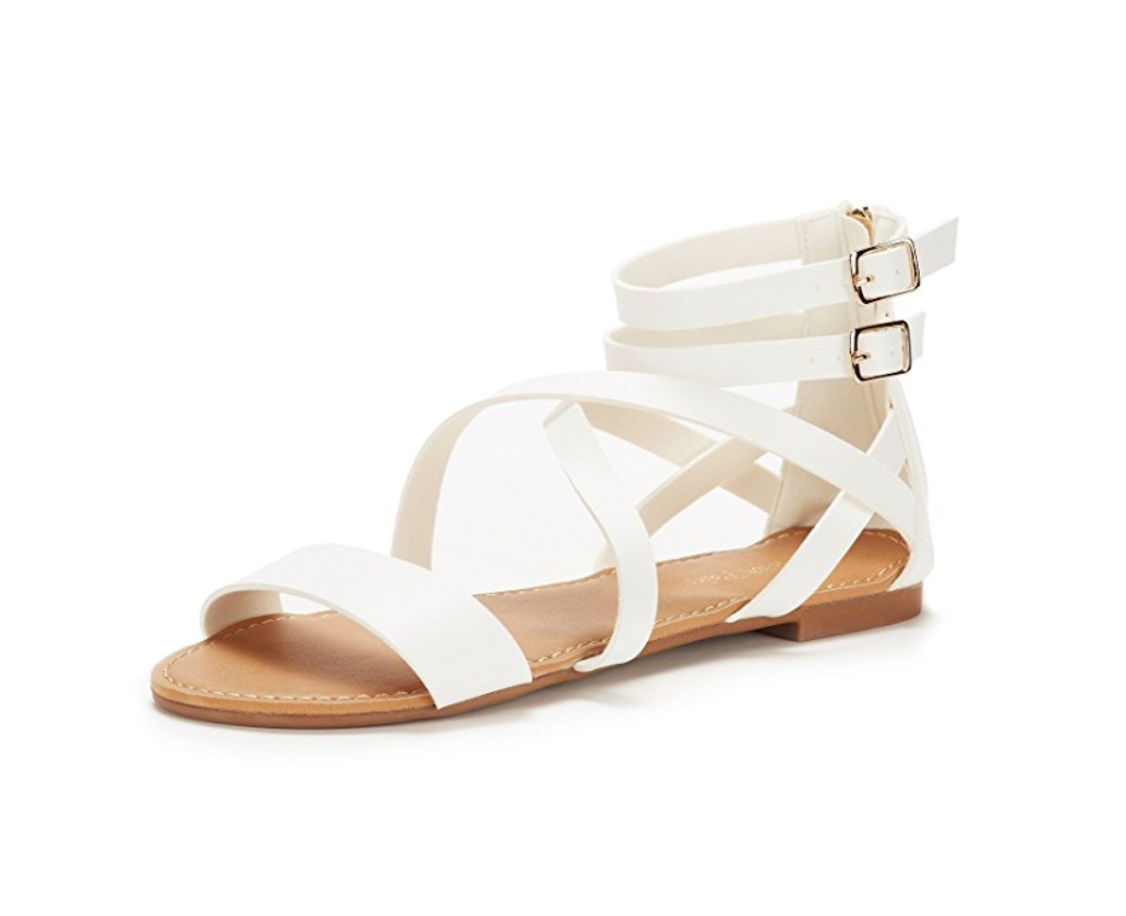 White Strappy Flat Sandals