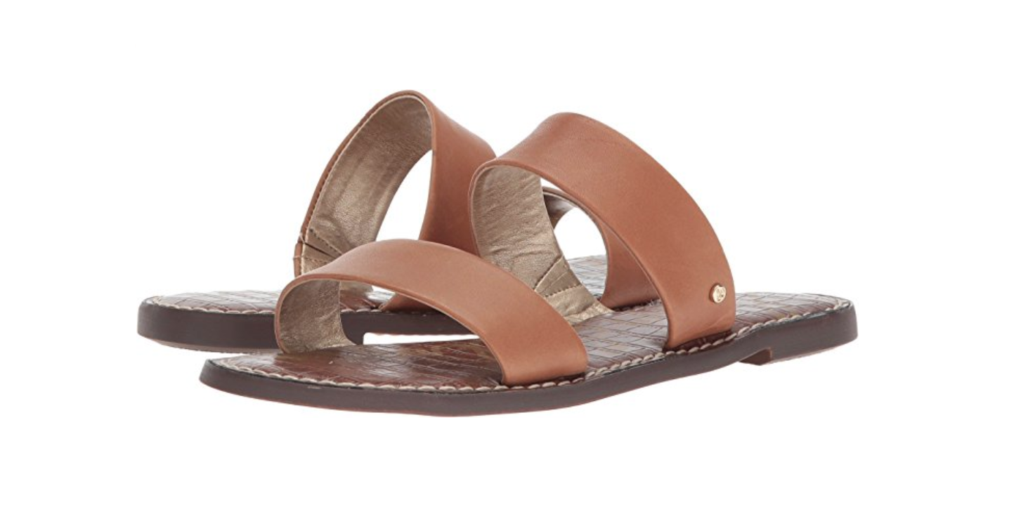 Double Strap Leather Slide Sandals