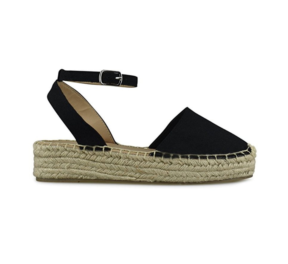Black Close Toed Espadrille Sandals