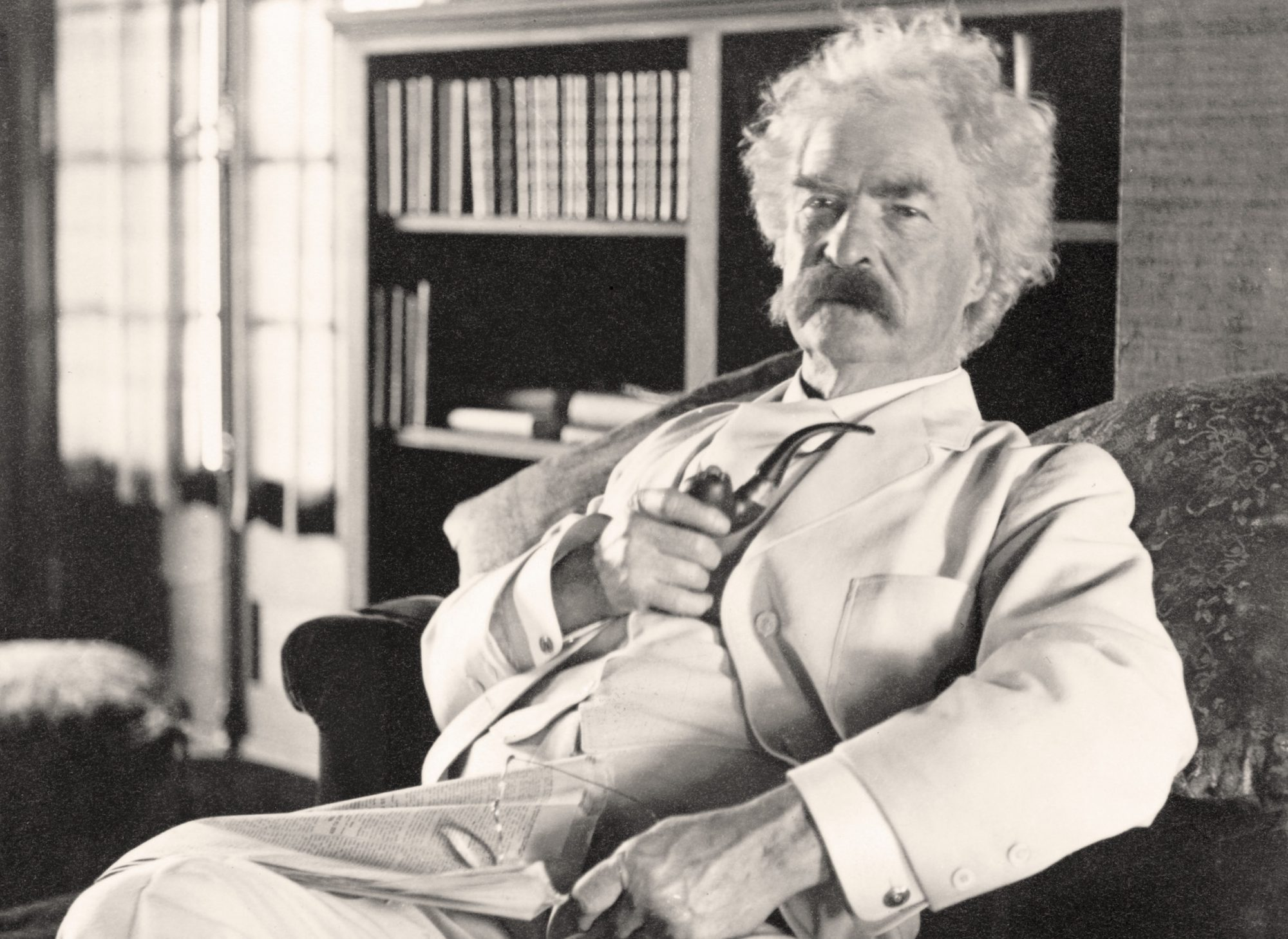 Samuel Langhorne Clemens 1835 to 1910 known by pen name Mark Twain American humorist, satirist, writer, and lecturer From photograph taken in his old age