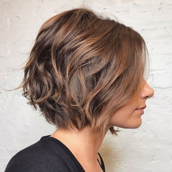Chocolate Bob with Rose Gold-Caramel Balayage