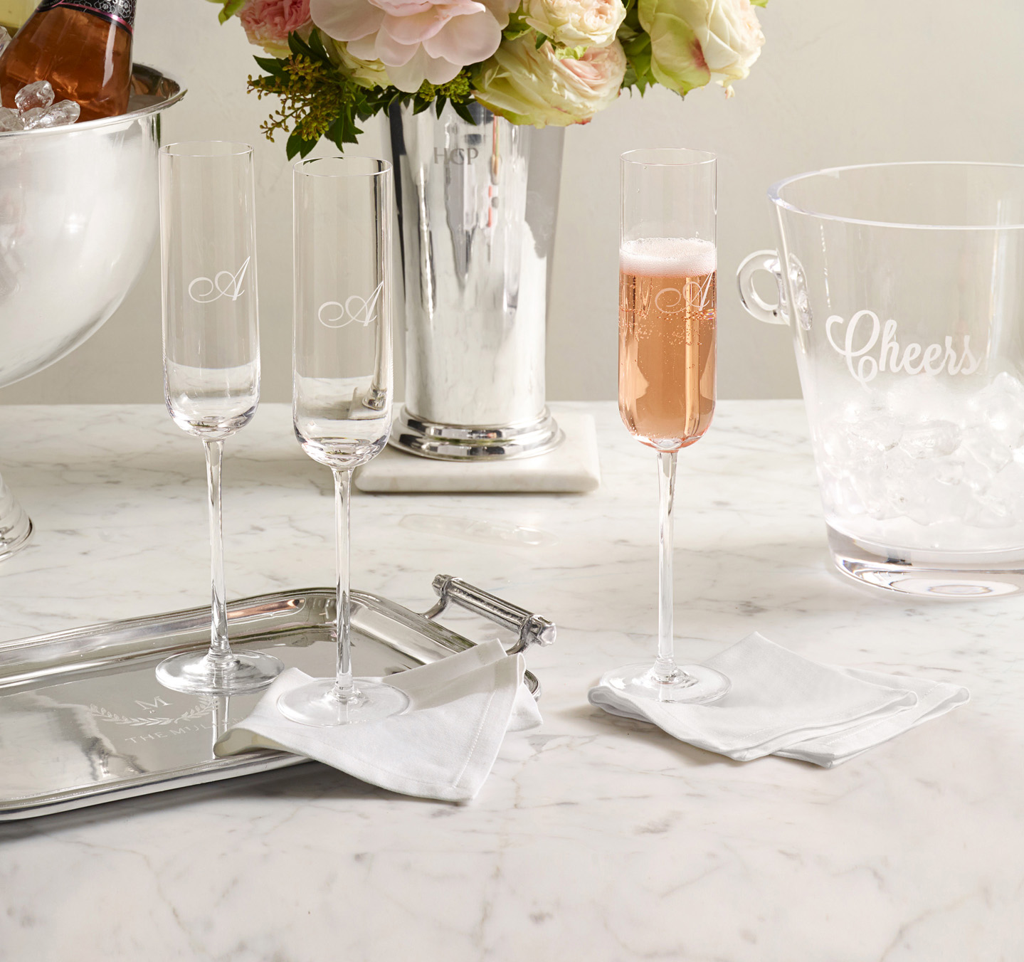 For the Bride and Groom: Classic Handblown Champagne Flutes