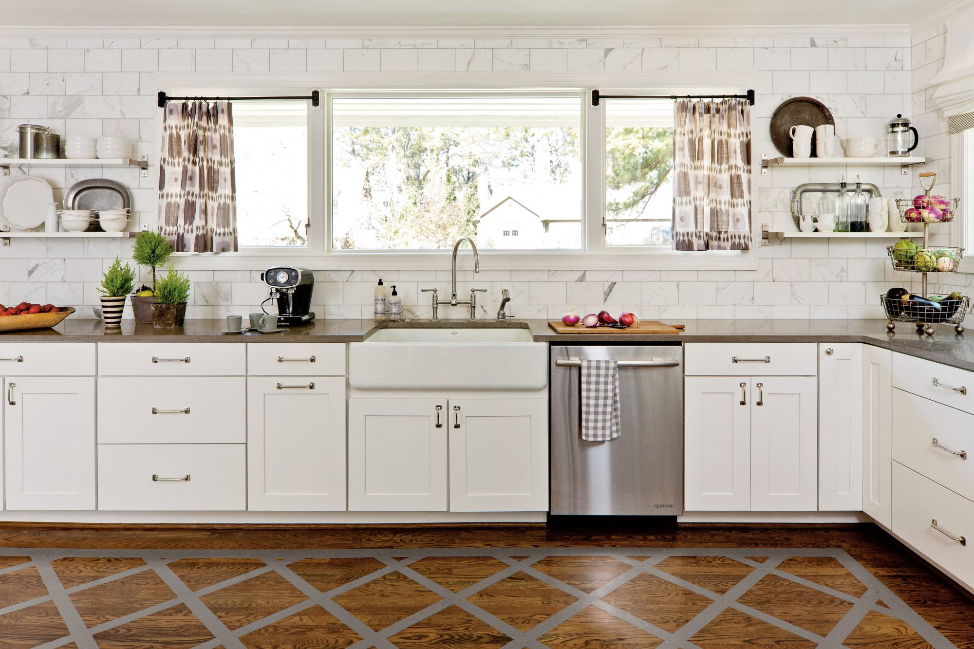 Thuston Painted Floor White Kitchen Makeover
