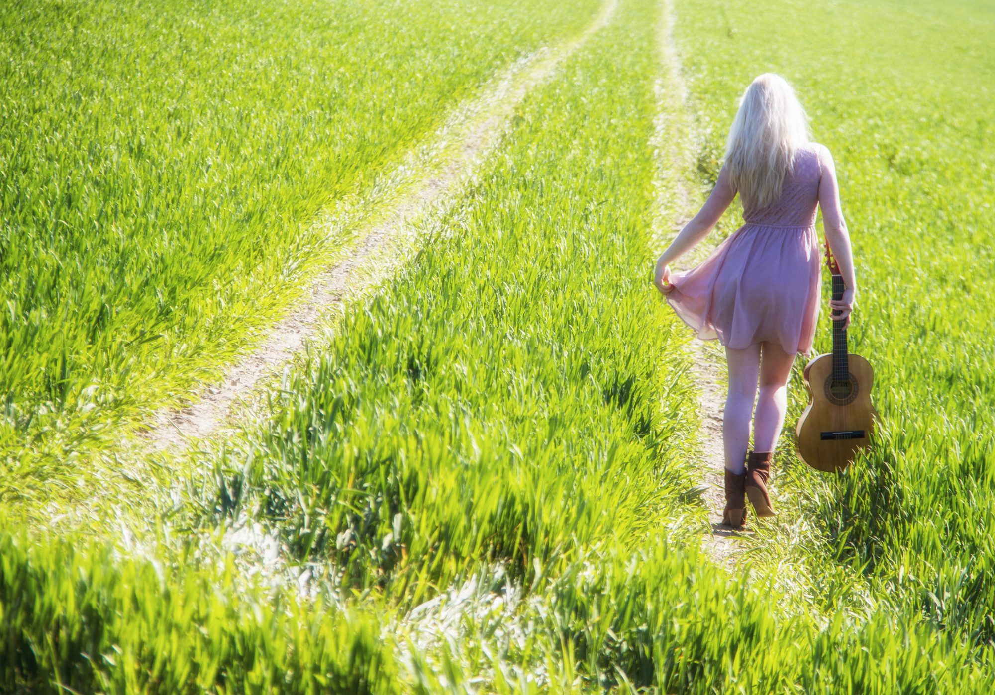 Girl in Field with Guitar