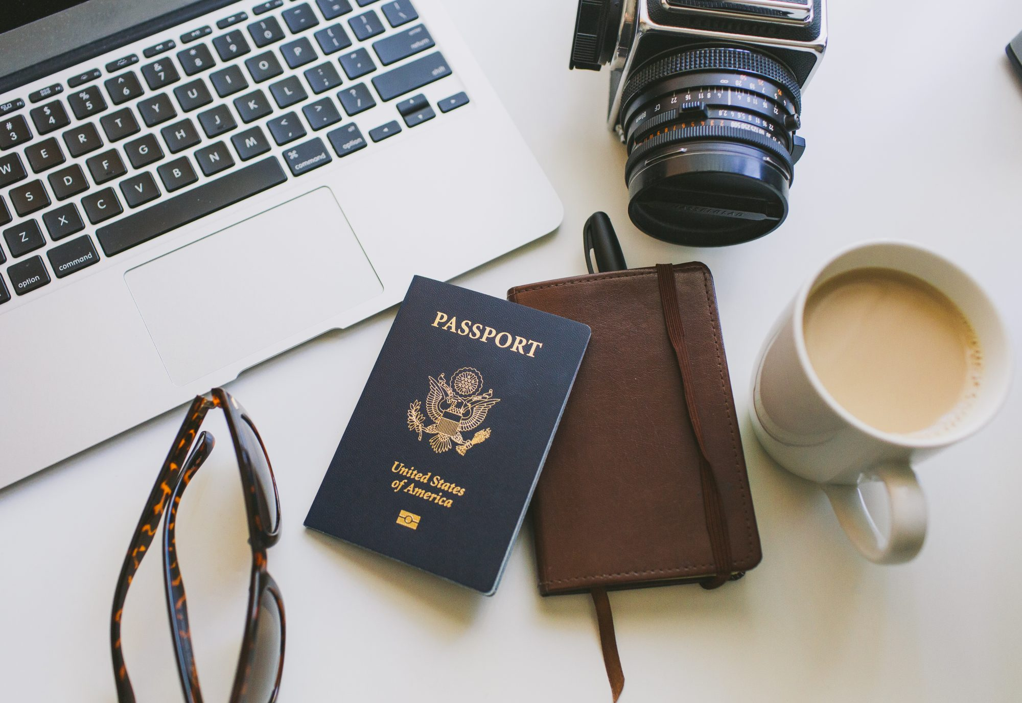 Passport Camera Coffee Notebook Sunglasses
