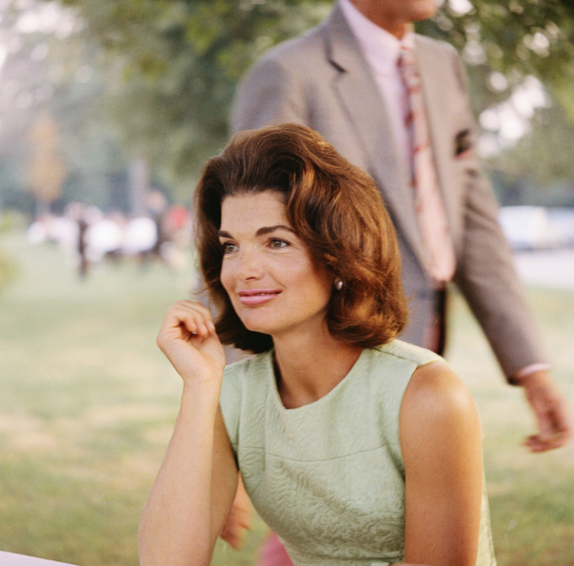 Jackie Kennedy Sitting in Park
