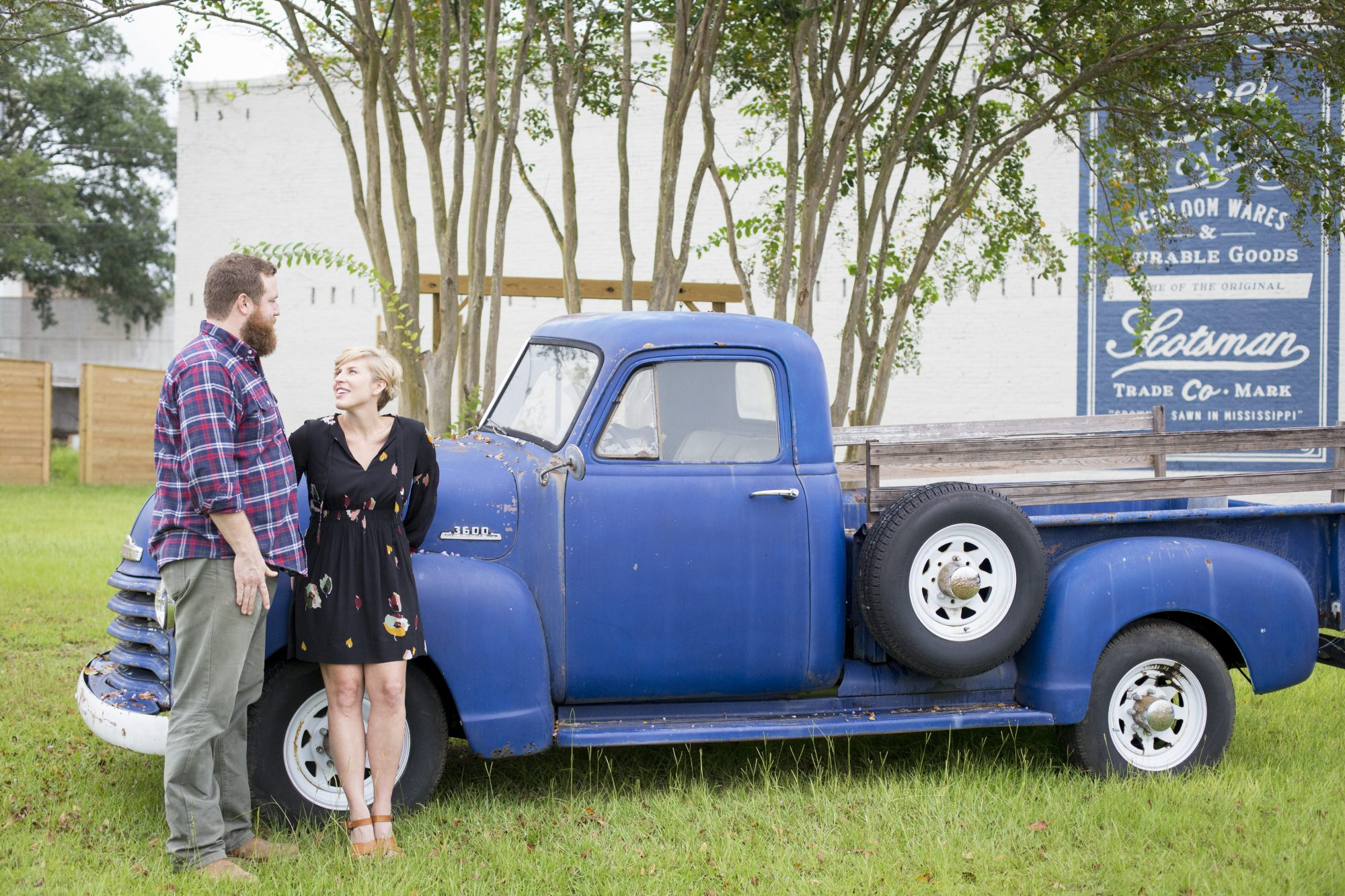 Erin Napier and Ben Napier with Truck