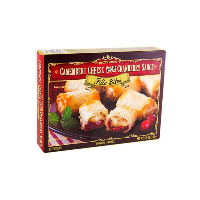 Camembert Cheese and Cranberry Sauce Fillo Bites