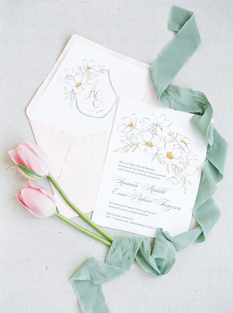 Wedding Invitation with Floral Illustration