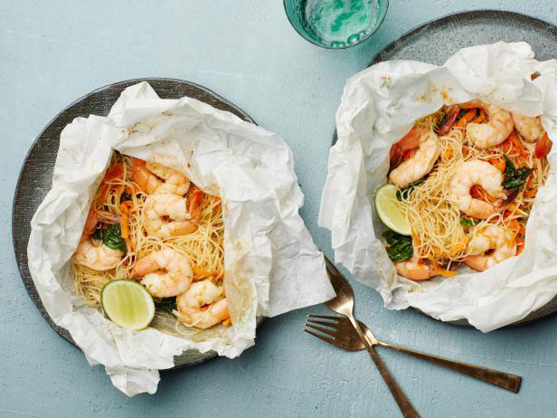 Parchment paper recipes that make weeknight dinner a breeze lemongrass coconut shrimp and noodles parchment pack 14 of 17 via food network forumfinder Images