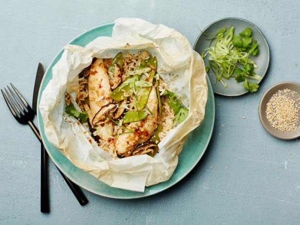 Parchment paper recipes that make weeknight dinner a breeze ginger scallion chicken parchment pack 6 of 17 via food network forumfinder Choice Image