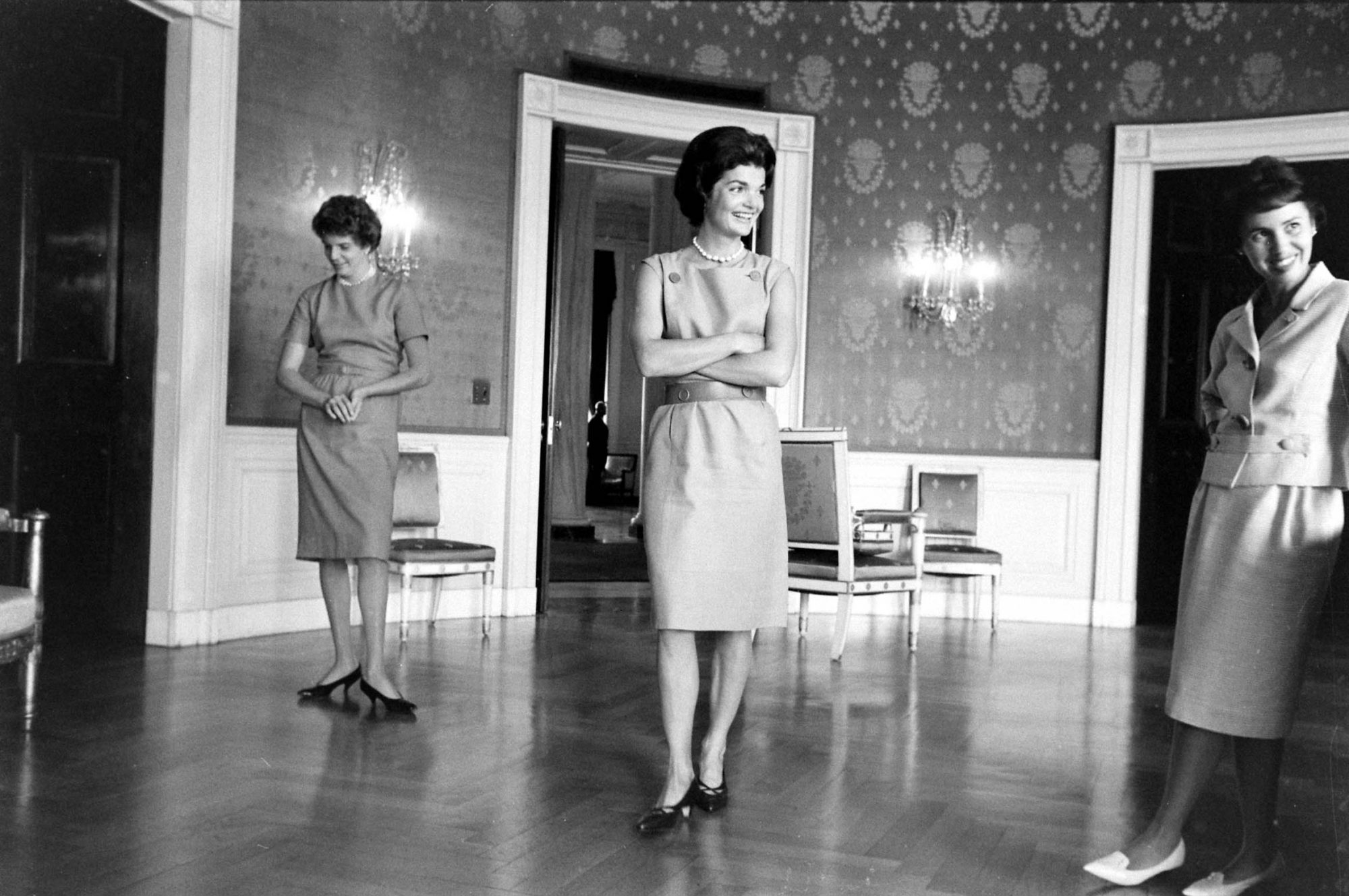 First Lady Jackie Kennedy Redecorating the Blue Room in the White House
