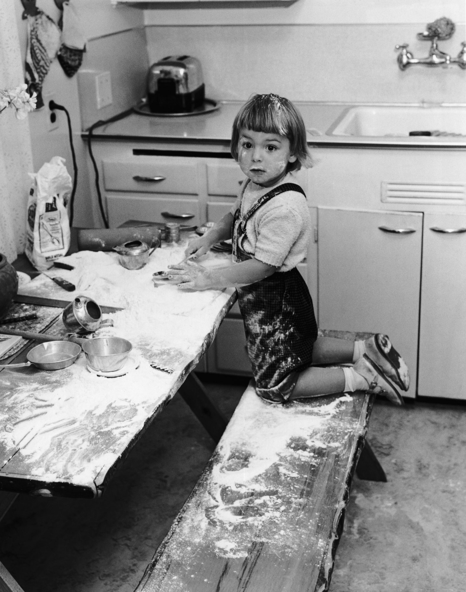 Toddler Baking with Flour Mess