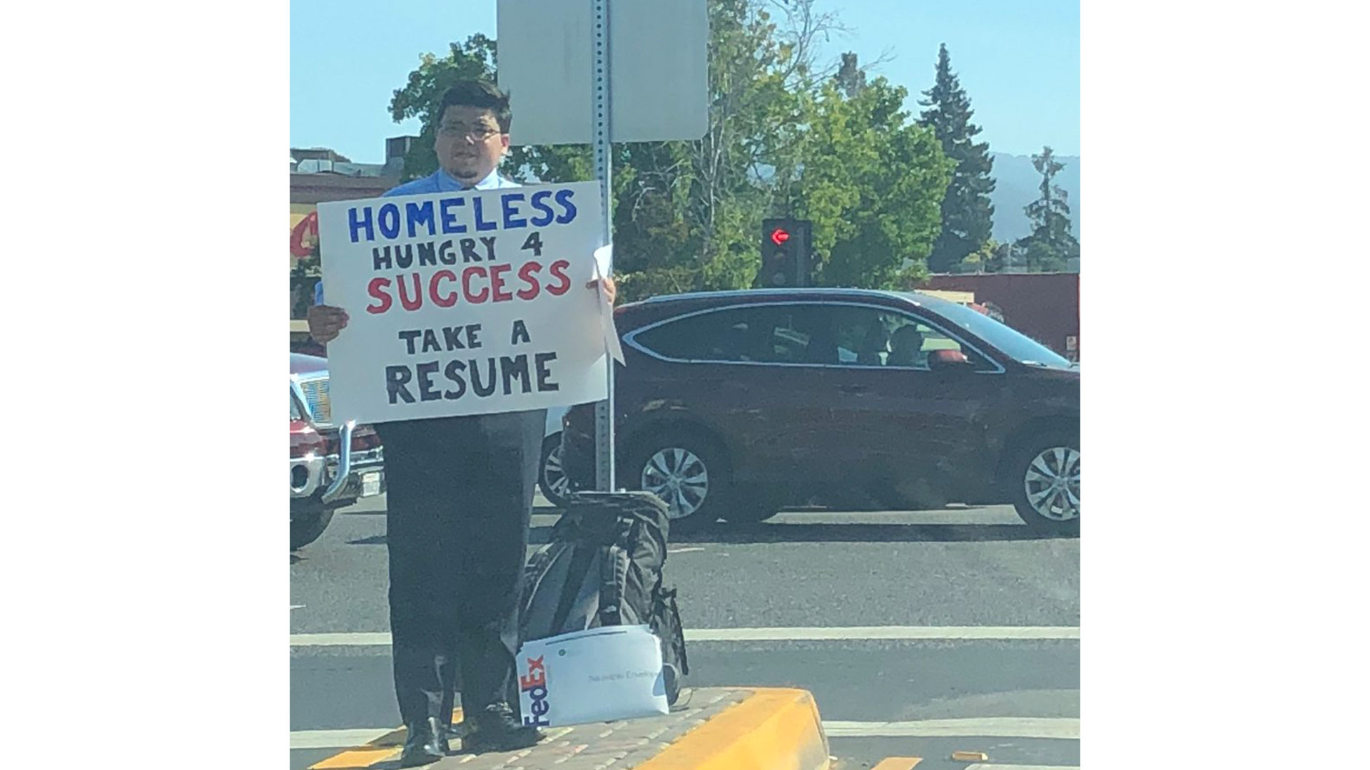 Homeless Man Hands Out Resumes