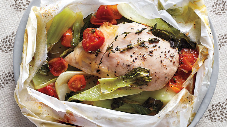 Chicken, Bok Choy, and Tomatoes in Parchment