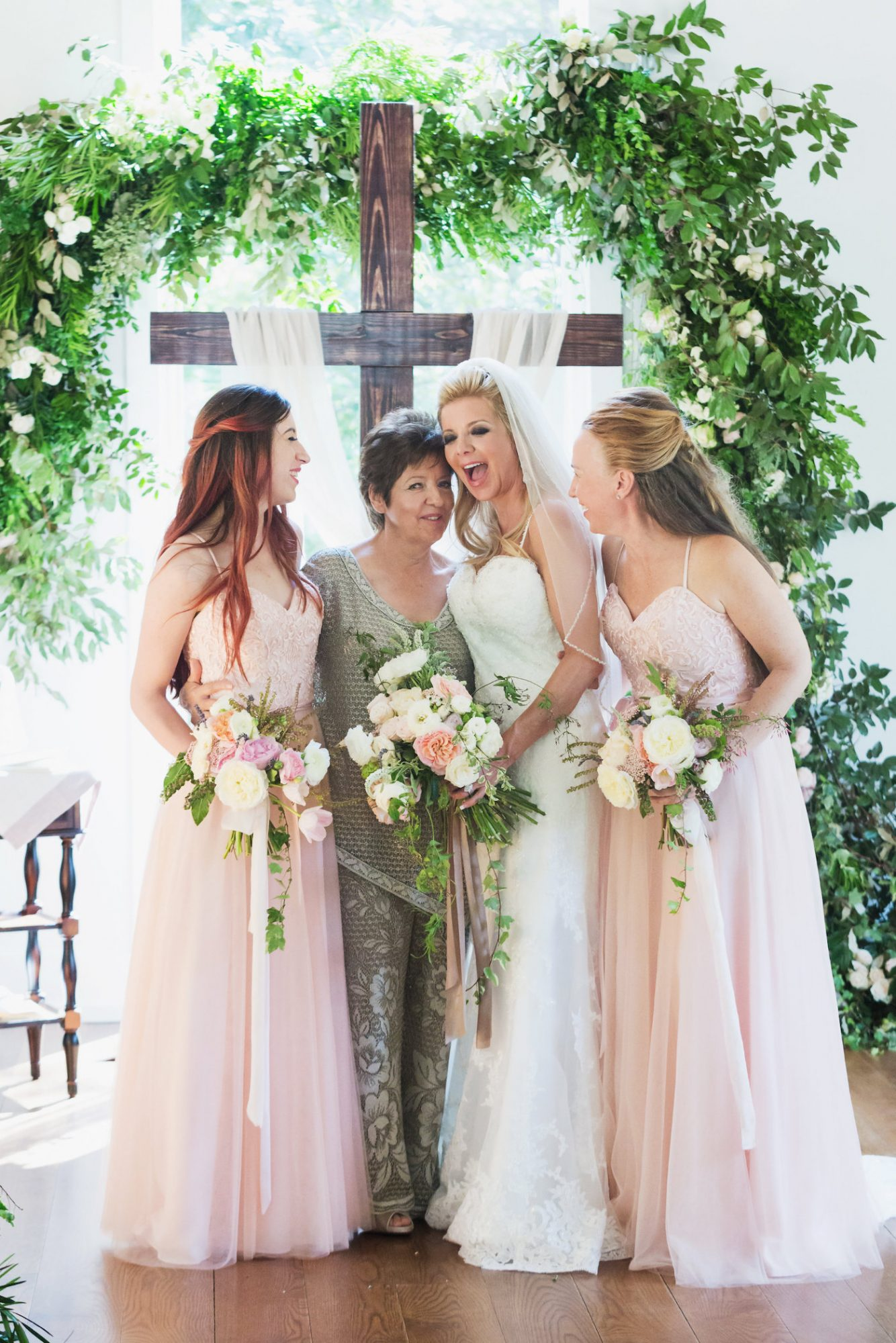 Bridesmaids and Mother of Bride Laughing