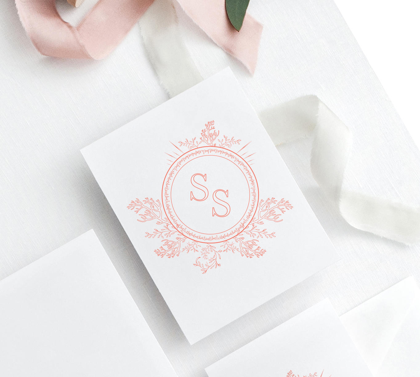 Coral Wedding Monogram