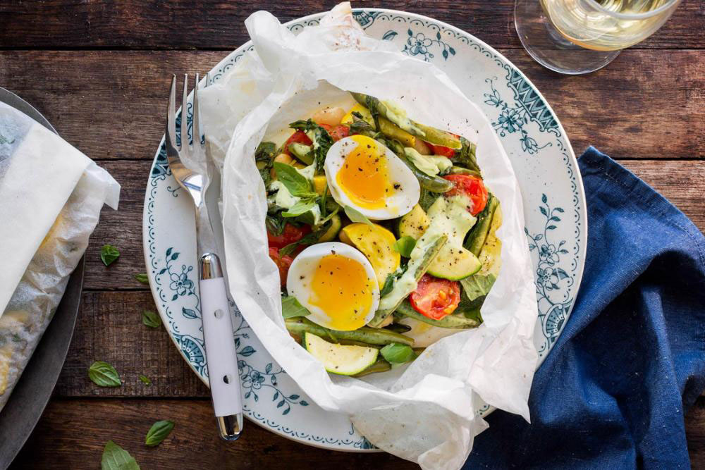 Summer Vegetables with Soft-Cooked Eggs