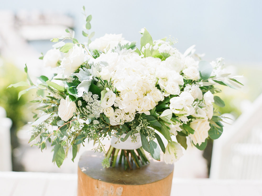 Natural, All-White Wedding Bouquet