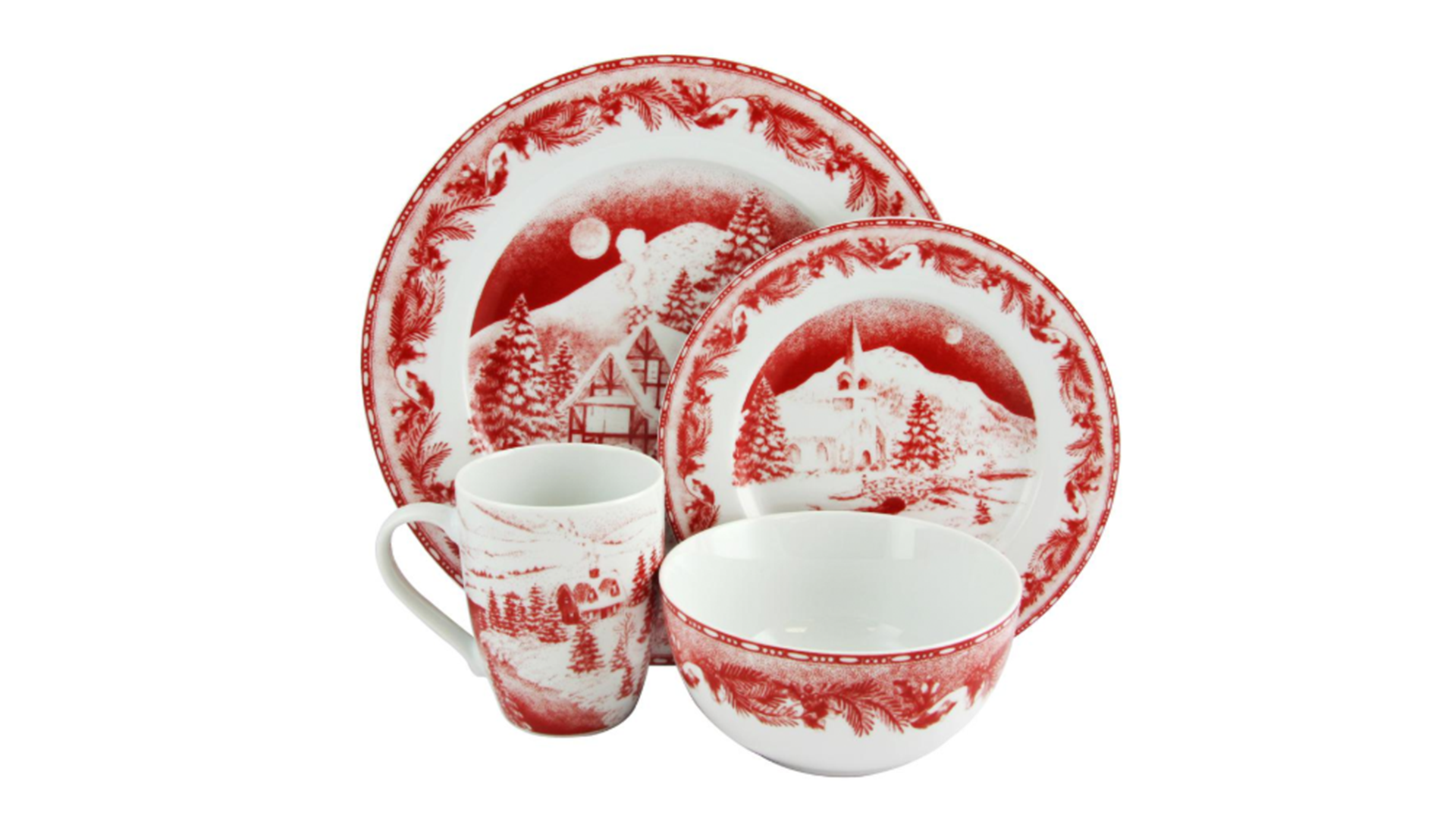 Winter Cottage Dinnerware Decorated Set