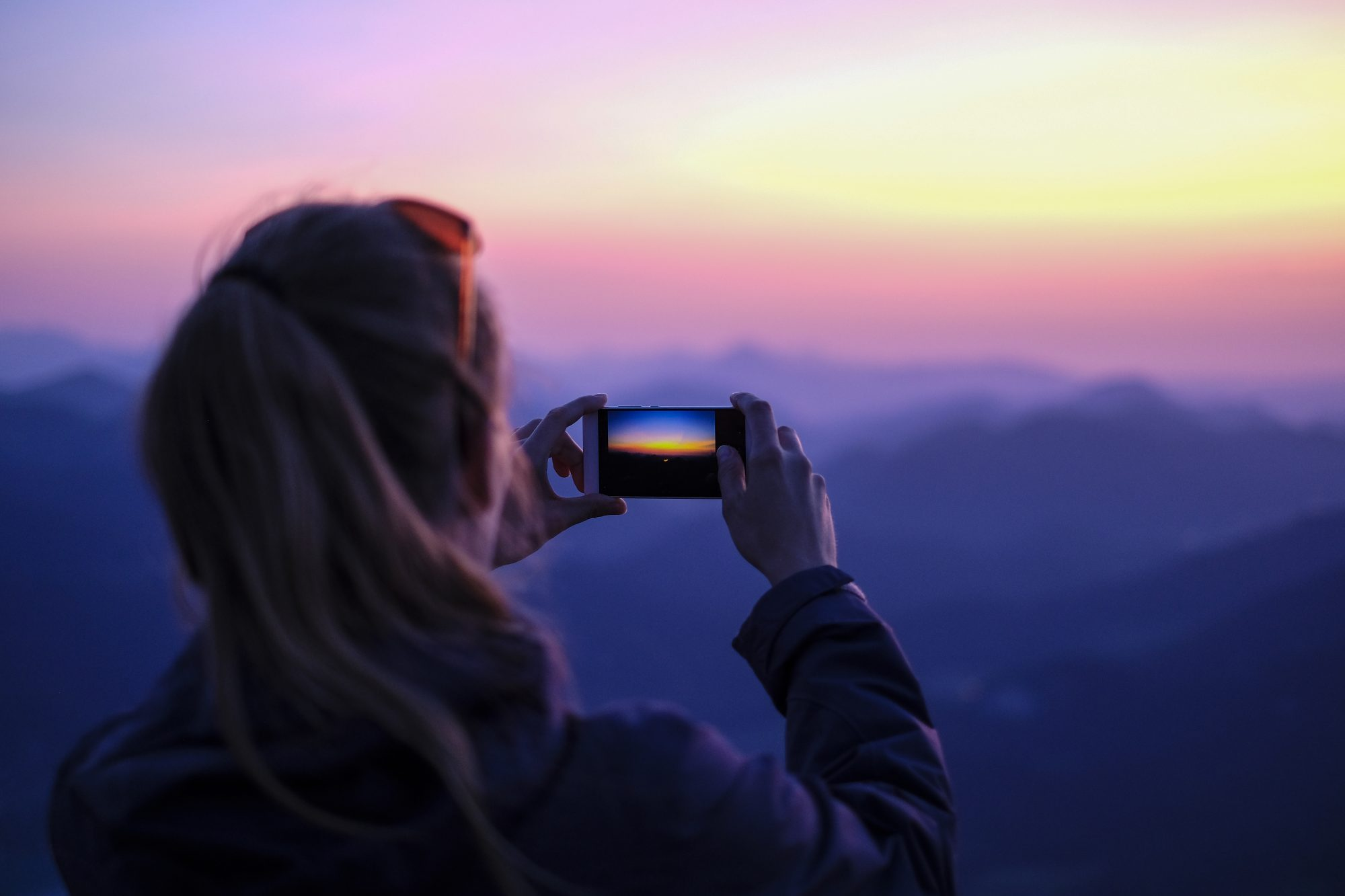Girl Photographing Mountains