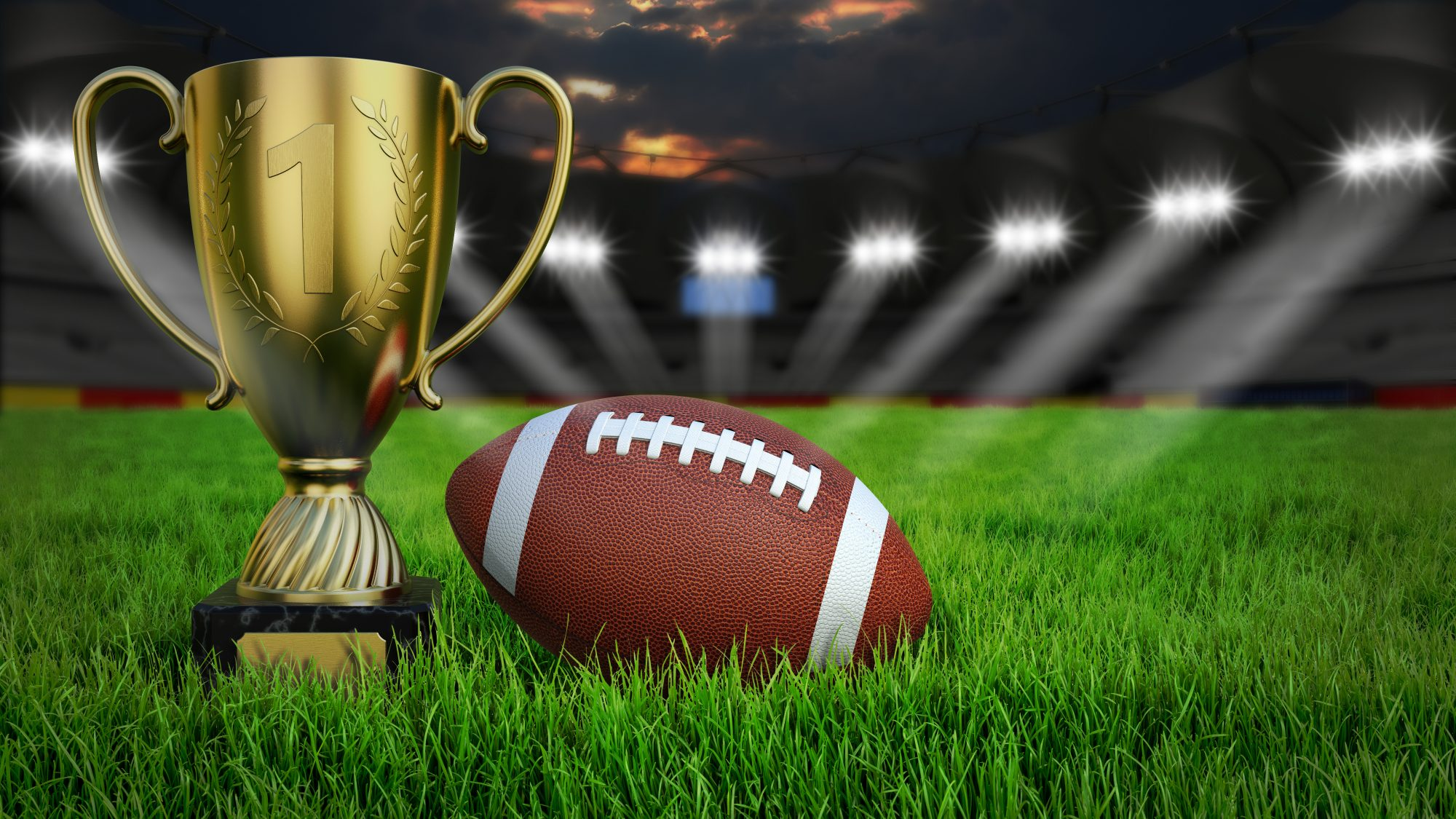 Football and Trophy on Field