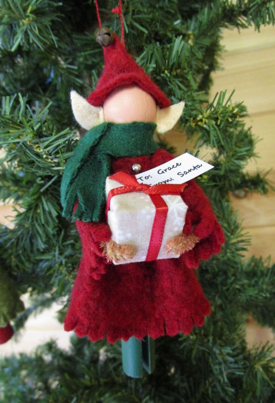 Wood and Cotton Elf Christmas Ornaments