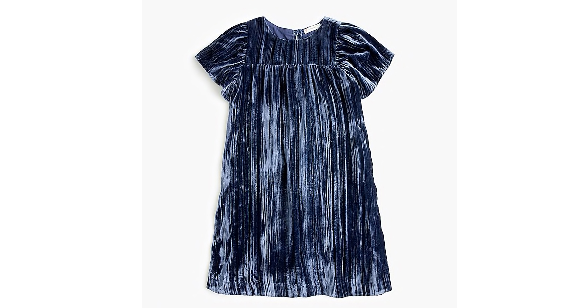 Girls' Flutter-Sleeved Dress in Crushed Velvet