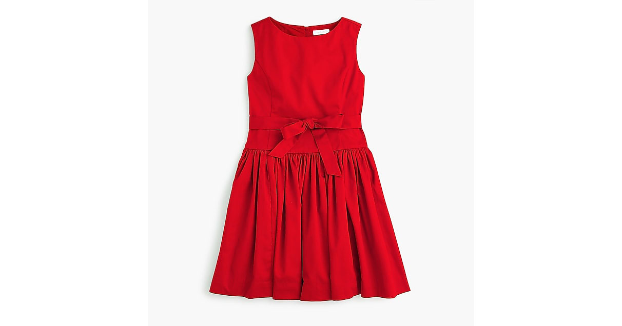 Girls tie-waist dress red