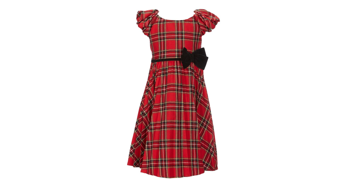 Little Girls Puff Sleeve Plaid Pleated Dress