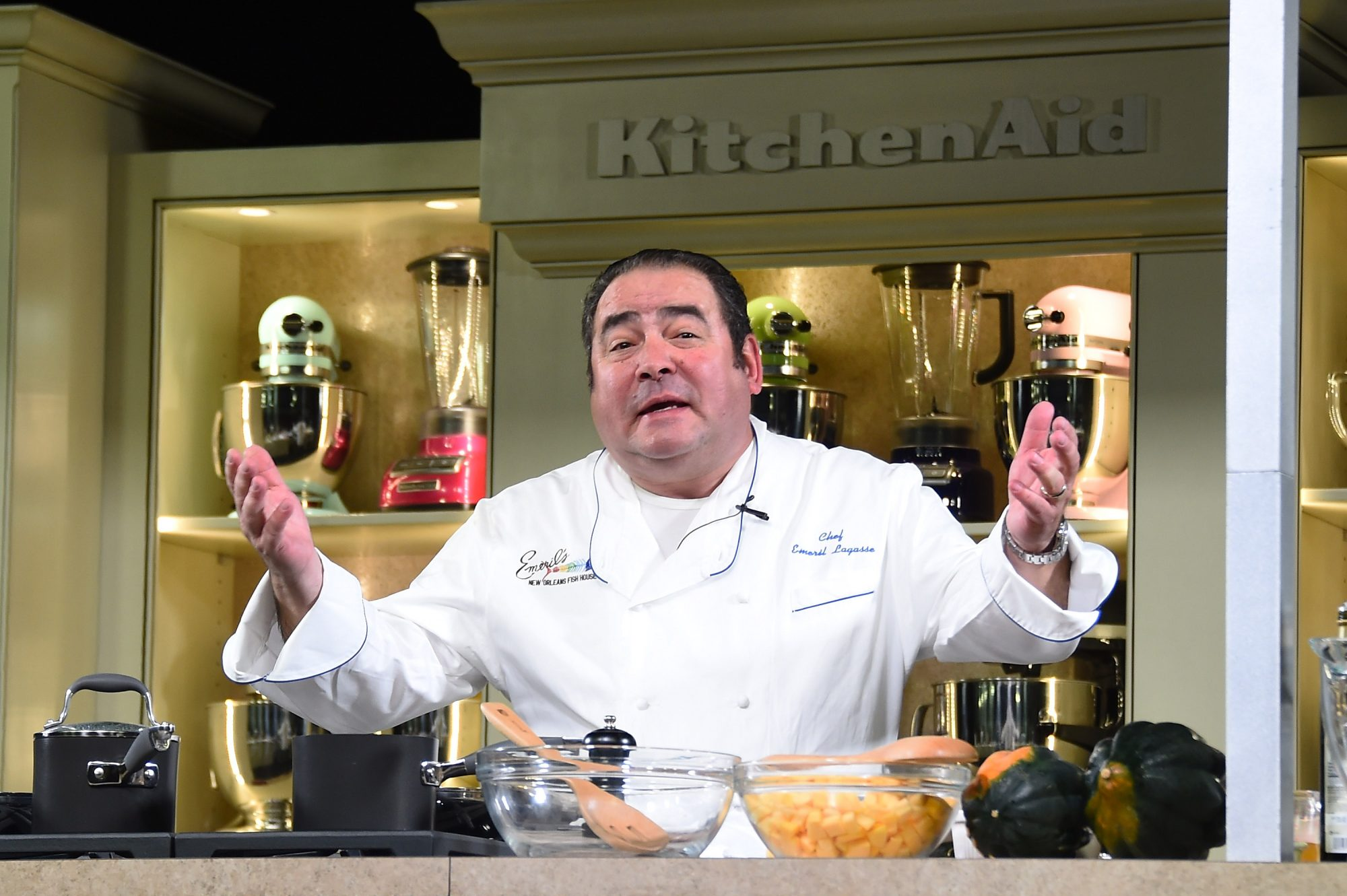 Emeril Lagasse Cooking in Kitchen